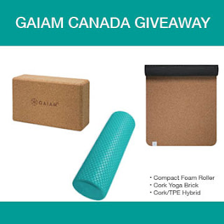 Gaiam Canada Prize Pack - Cork Mat, Yoga Brick, Foam Roller