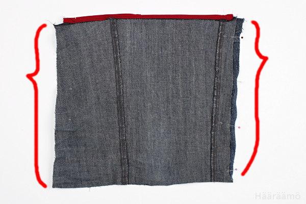 Farkkulaukun sivusaumojen ompelu