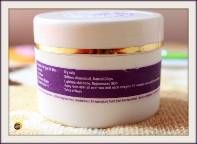 Review of all natural, organic, saffron face mask/ face pack for dry skin from Aroma Essentials on NBAM blog