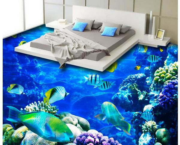 bedroom 3D epoxy flooring design - deep sea themed