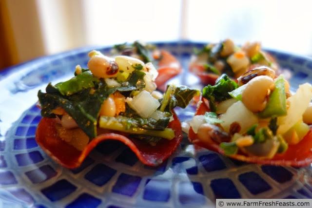 Black Eyed Pea and Kale Salad in Salumi Cups | Farm Fresh Feasts