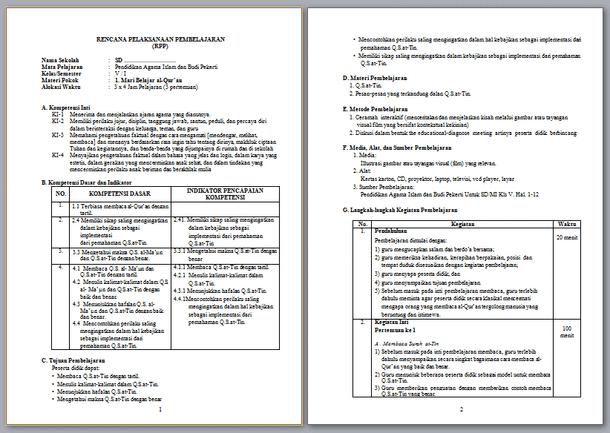 Contoh RPP PAI SD  Kelas 1 2 3 4 5 6 Kurikulum 2013 Revisi 2019-2020