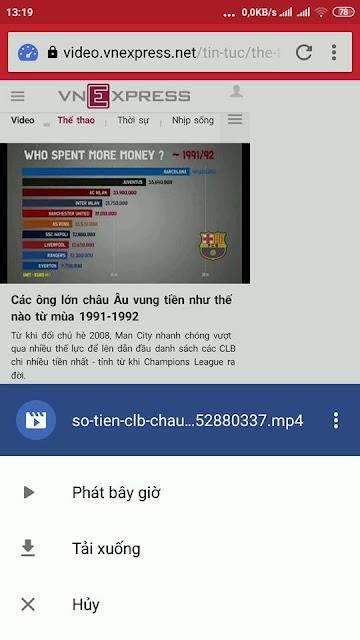Tải video bằng trình duyệt opera mini trên điện thoại di động