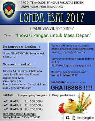 Lomba Esai 2017 by Univ PGRI Semarang Untuk SMA Sederajat