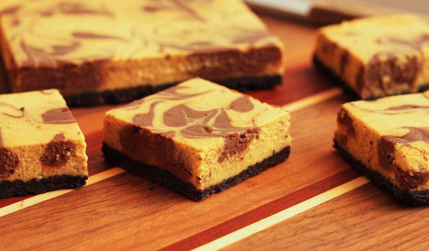 Pumpkin-Chocolate Marble Cheesecake Bars.