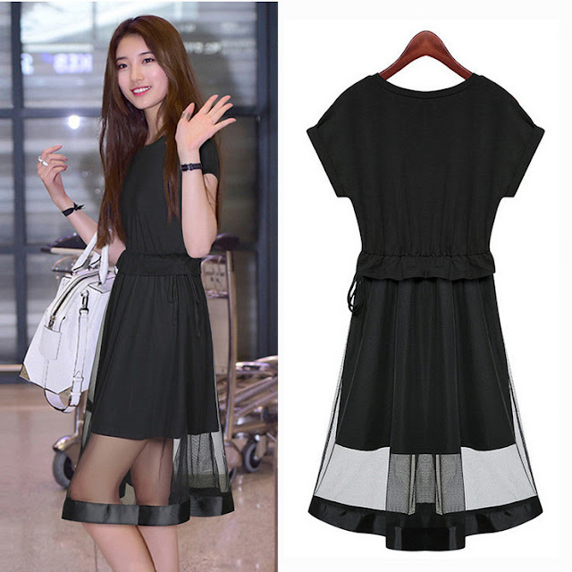 Model Dress Pesta Korea Warna Hitam Bahan Sifon