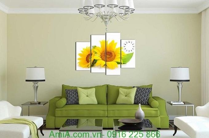 Hình ảnh Tranh đồng hồ khổ nhỏ hai bông hoa Hoa Hướng Dương