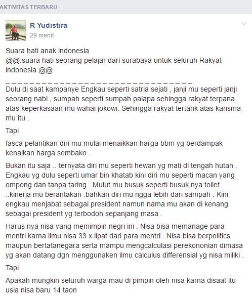 Siapa Nisa Ini? Dengan Beraninya Mengatakan Presiden Jokowi Seperti Binatang, Bermulut Busuk dan Dikenang Sebagai Presiden Terbodoh