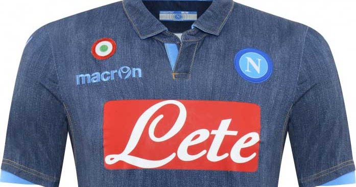0142c2133 FlagWigs  Macron SSC Napoli 2014-2015 Italy Series A Away Jeans Jersey  Shirt Kit   Have a Fun Flag Wig !