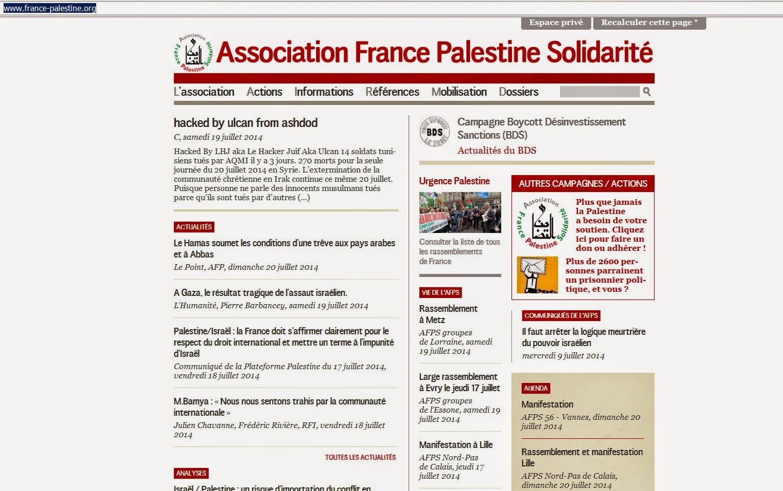Le site france-palestine.org hacké