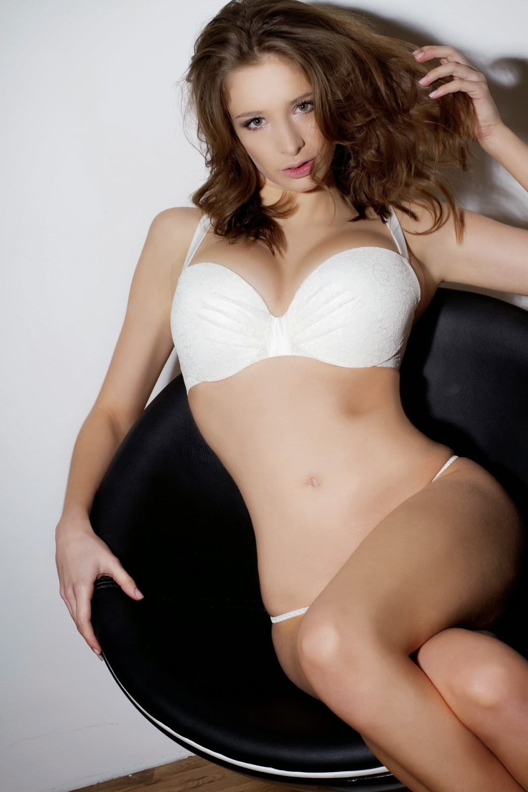Emily Shaw Topless White Lingerie Covered With -9916