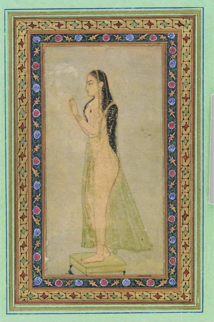 Lady at Prayer, Mughal Painting c1900