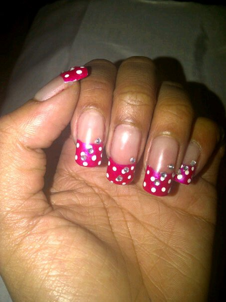 hot pink tip nails - photo #39