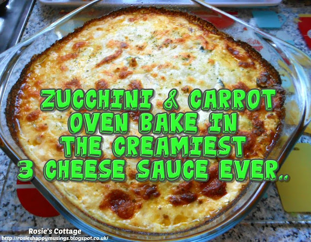 Zucchini & Carrot Oven Bake In The Creamiest 3 Cheese Sauce Ever