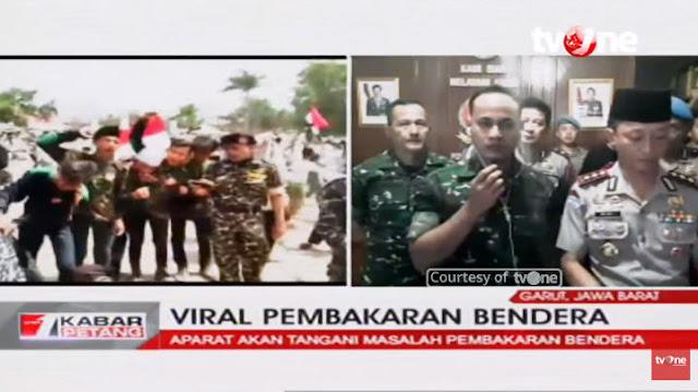 Anggota TNI Pastikan yang Dibakar Oknum Banser Bendera Bertuliskan Tauhid
