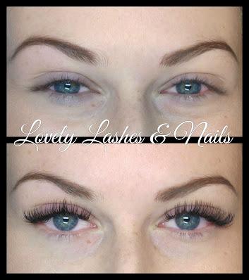 Foto van ogen met en zonder wimperextensions op www.lovelylashesnails.nl geplaatst in Dronten. Ook de wenkbrauwen zijn geverfd