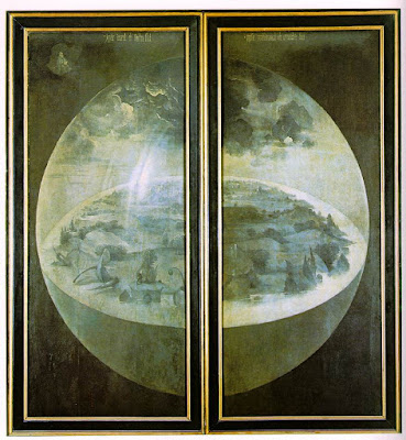 Il trittico del Giardino delle Delizie, Hieronymus Bosch, visuale con i pannelli chiusi