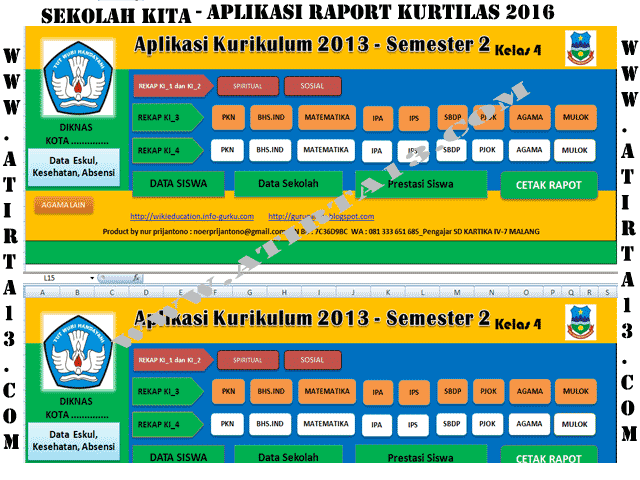Download Aplikasi Raport Kurikulum 2013 Format Excel Khusus SD