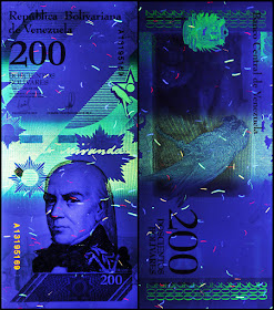 Venezuela Currency 200 Bolivares Soberanos banknote 2018 under ultraviolet light
