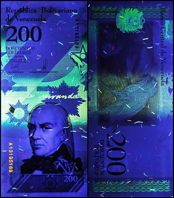 Venezuela Currency 200 Bolivares Soberanos banknote 2018 under ultraviolet light