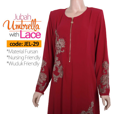 Jubah Umbrella Lace JEL-29 Red Depan 7