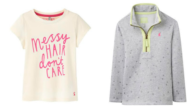 Joules Spring Fashion for children Messy Hair Don't Care Girls T-shirt Grey Stars Sweatshirt Top