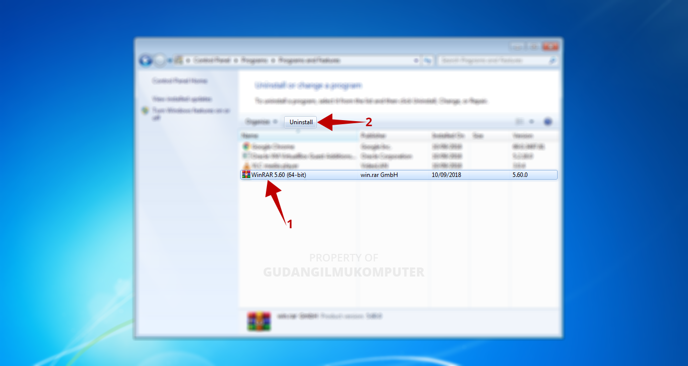 Cara Menghapus Aplikasi di Laptop Windows 7