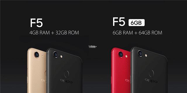 ada dua varian oppo f5, yaitu 4gb + 32gb dan 6gb + 64gb