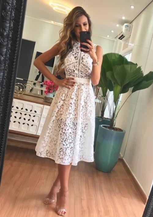 vestido de festa midi branco