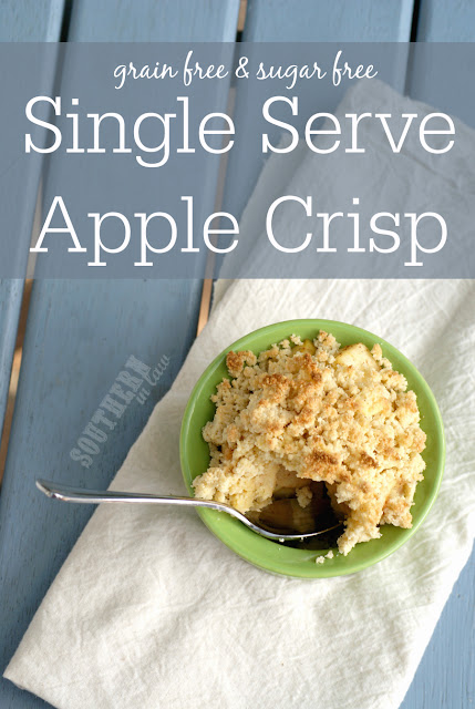 Healthy Single Serve Apple Crisp Recipe - single serving apple crumble, low fat, gluten free, clean eating, sugar free, grain free, paleo, healthy, vegan