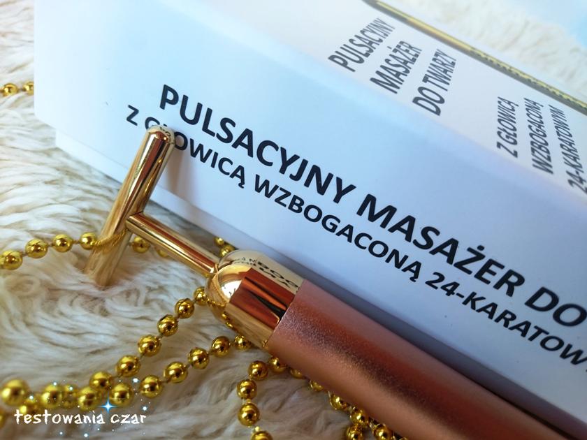 DermoFututre Precision Pulsacyjny masażer do twarzy z głowicą wzbogaconą 24-karatowym złotem