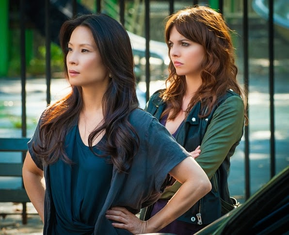 Lucy Liu and Ophelia Lovibond as Joan Watson and Kitty Winter Sherlock Holmes new apprentice in CBS Elementary Season 3 Episode 2 The Five Orange Pipz