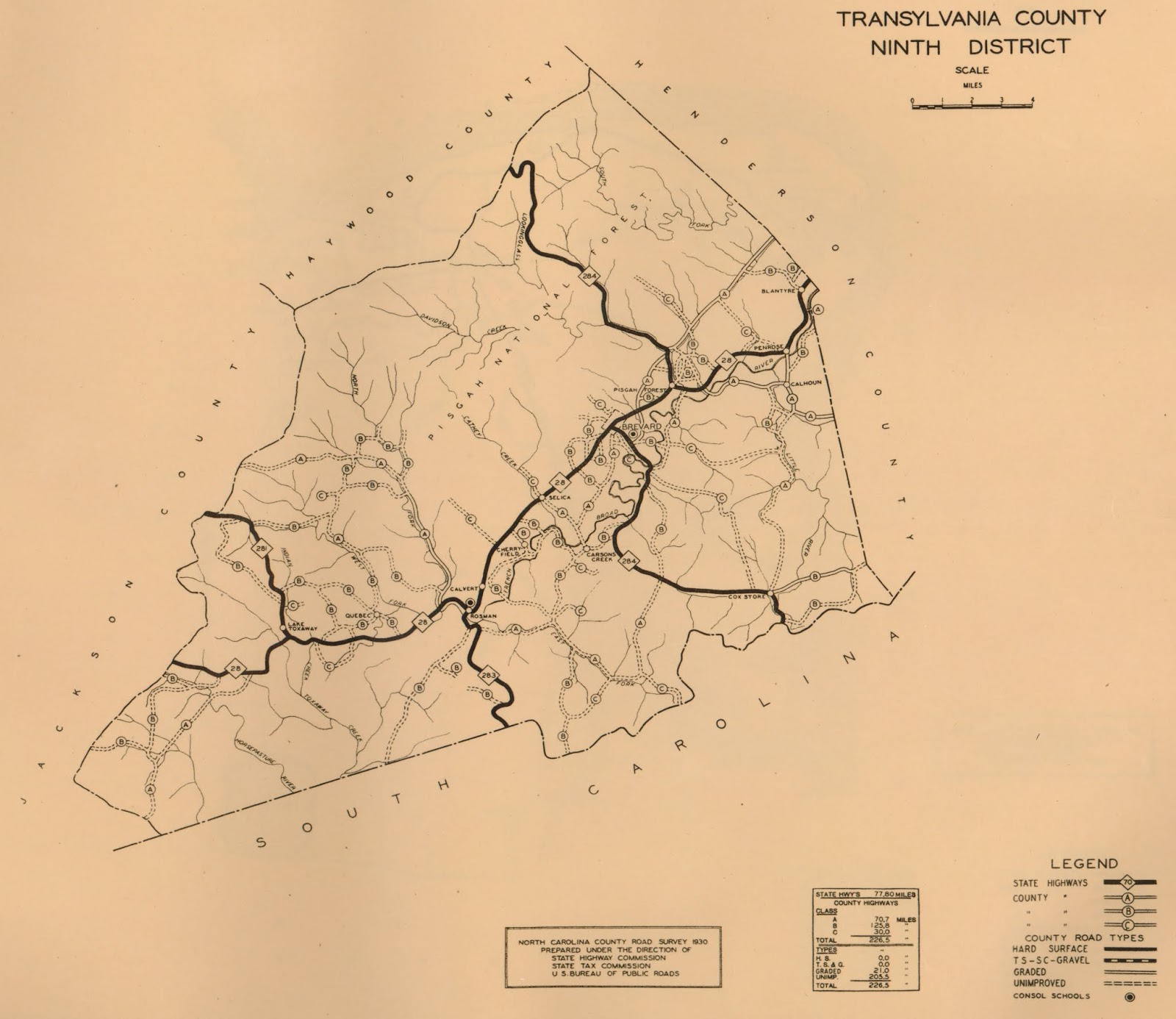 highway 280 appears as a graded county road on the 1930 north carolina road survey of transylvania county the hard surfaced road to