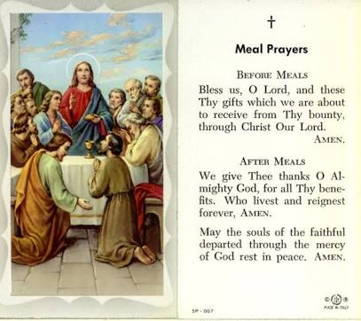 Christian prayer before meals. Every religion teaches to be grateful to God.