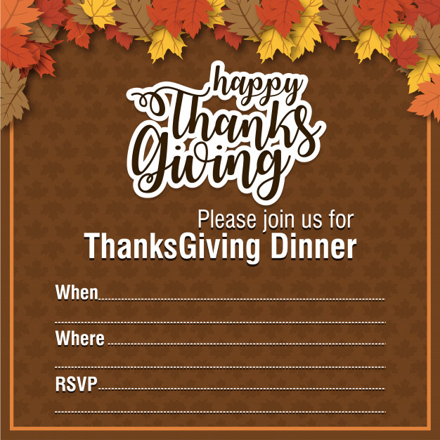 Hand drawn Thanksgiving Invitation poster. Free Vector