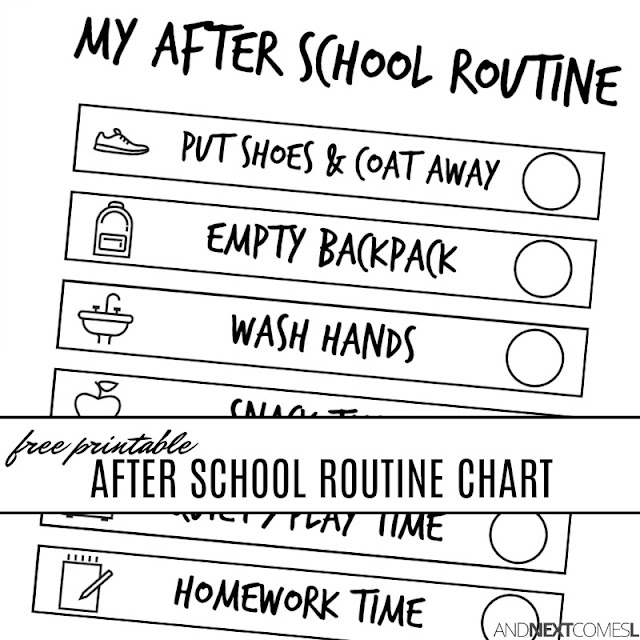 Free printable after school routine chart for kids