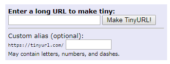 TinyURL homepage.