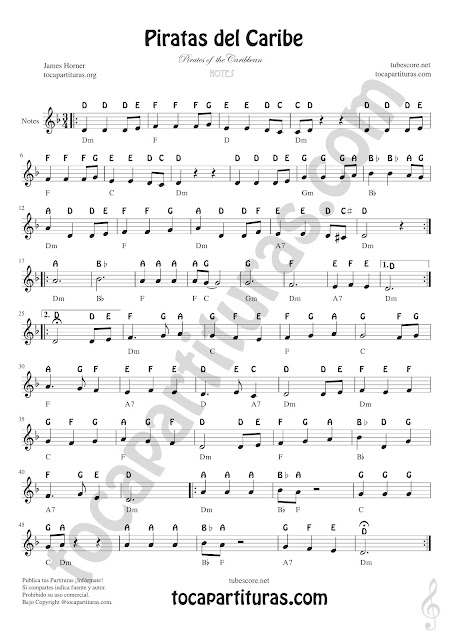 Pirates of the Caribbean (nomenclatura inglesa) Easy Sheet Notes for Treble Clef, Violin, Saxophones, Trumpets, Flute, Recorder, Clarinet... Piratas del Caribe Notes