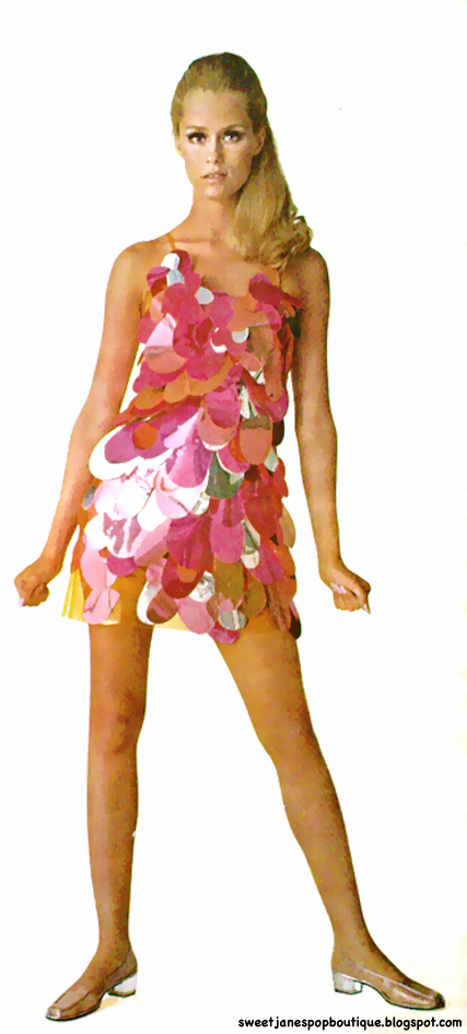 Model/Actress Lauren Hutton wearing a 1960s plastic mini dress by Betsey Johnson.