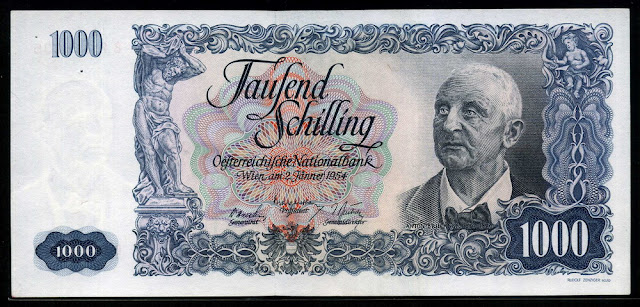 European money currency euro Austria 1000 Austrian Schilling banknote