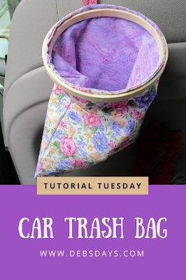 Homemade Car Trash Bag Holder from an Embroidery Hoop