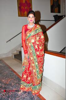 Model Sharon Fernandes Stills in Red Saree at Trendz Exhibition Launch  0055.JPG