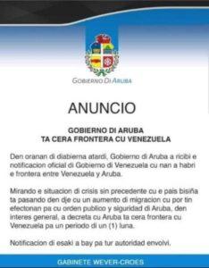 A través de un comunicado el gobierno de Aruba decretó el cierre de la frontera con Venezuela.