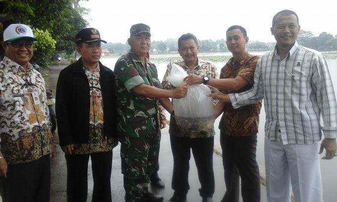 Danramil 03/Sukmajaya Ikut Tebar Benih Ikan di Setu Cilodong