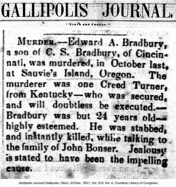 News clipping of Creed Turner's crime in Gallipolis Journal