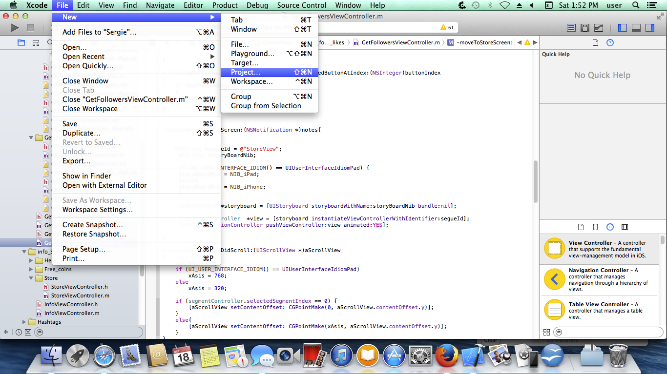 Create New project inXCODE 6.1