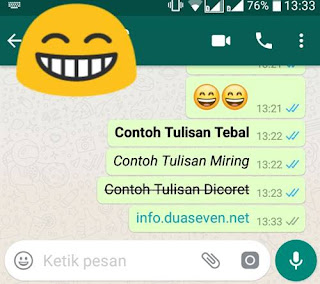Cara, Membuat Tulisan Tebal, Miring dan di Coret di WA (Whatsapp)