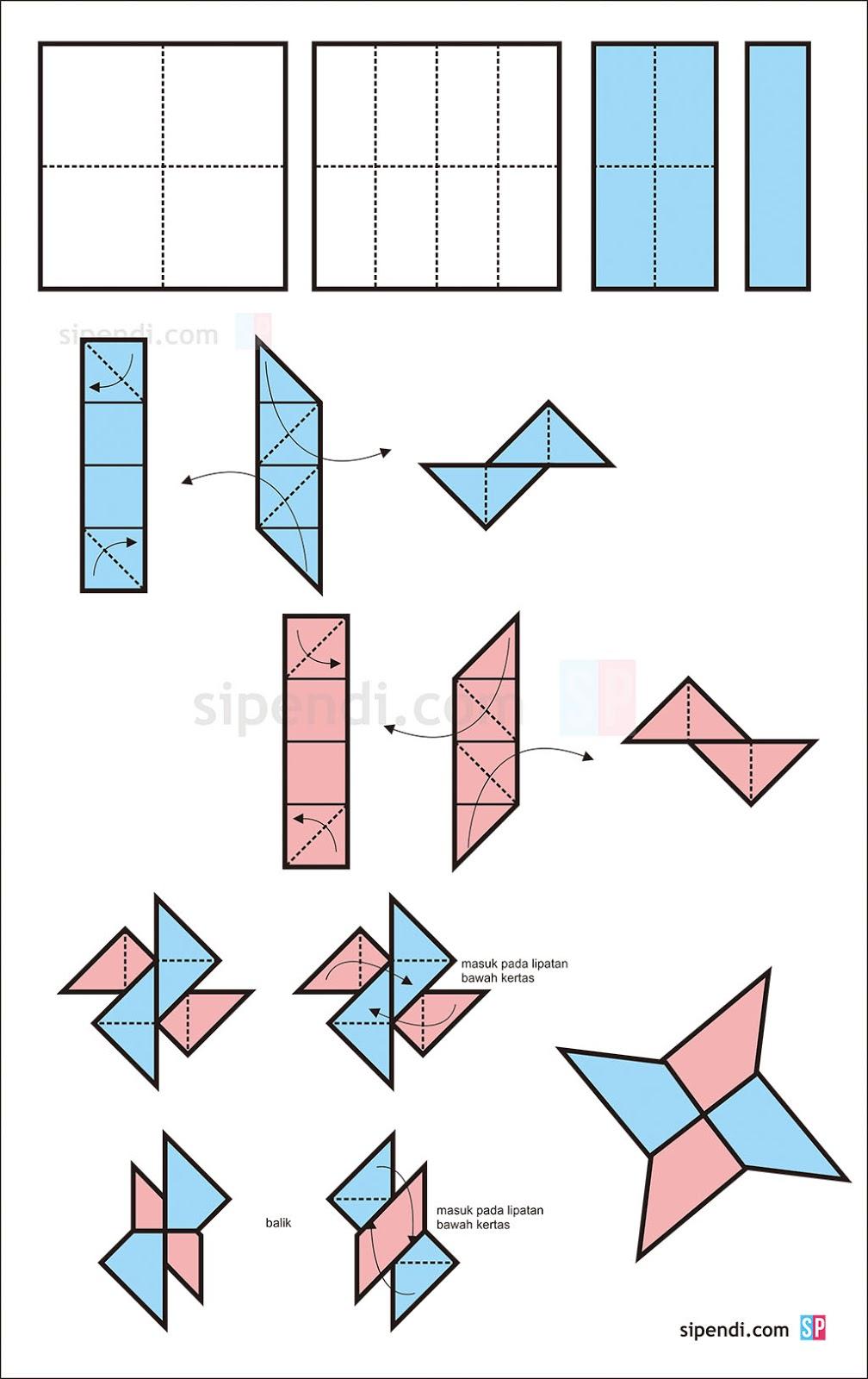 Origami Baling Baling : origami, baling, Membuat, Senjata, Ninja, Mirip, Baling-baling, Situs, Pendidikan, Indonesia