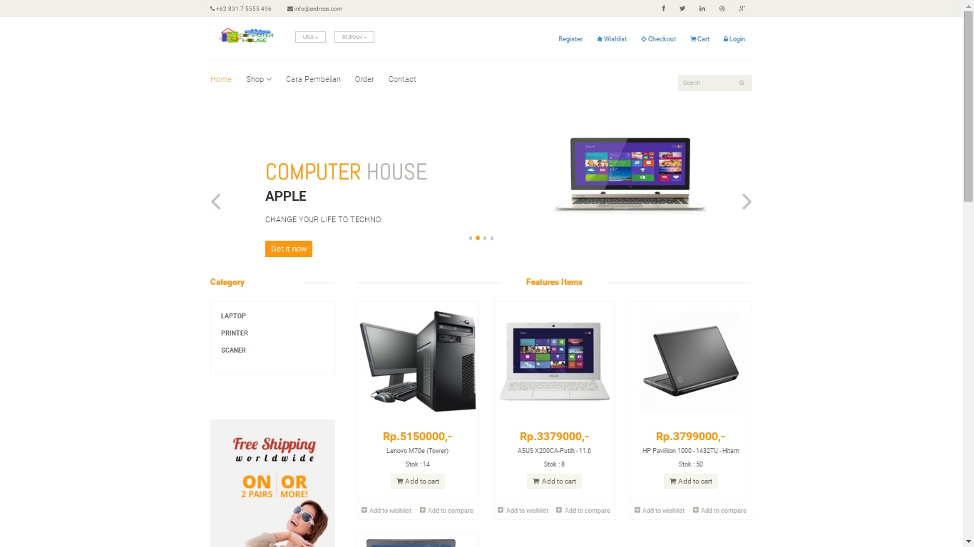 Download Template Web E-Commerce Gratis + Source Code Sederhana ~ HT ...