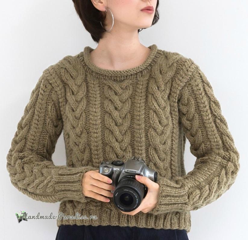 Схемы вязания спицами пуловера с большими косами (3)